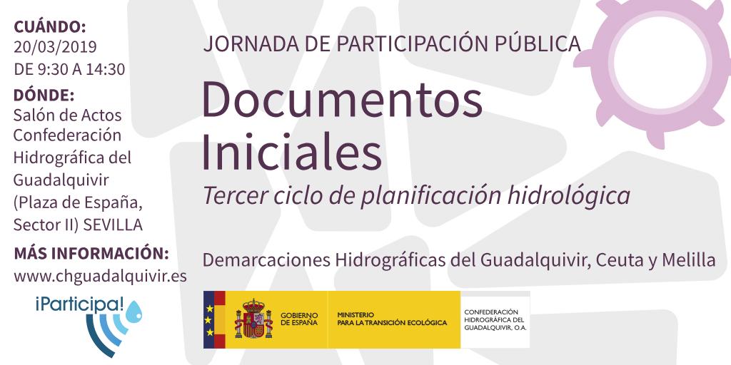 Cartel de la jornada de participación pública del proceso de Planificación Hidrológica